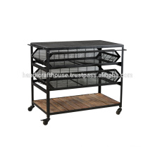 Industrial metal and wood drawers with wheels kitchen cart